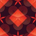 Circle star line flower red color seamless pattern Royalty Free Stock Photo