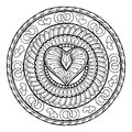 Circle tribal doodle ornament with love heart. Royalty Free Stock Photo