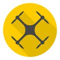 Circle vector icon for quadrocopter, silhouette quadrocopter a top view icon with long shadow