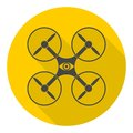 Circle vector icon for quadrocopter, silhouette quadrocopter a top view icons set