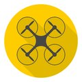 Circle vector icon for quadrocopter, silhouette quadrocopter a top view icons set with long shadow