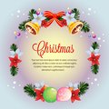 Circle wreath colorful christmas poinsettia card vector