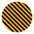 Circle yellow and black diagonal stripes, vector safety stripe warning, circle warn caution construction background Royalty Free Stock Photo