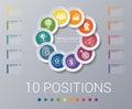 Circles diagram Elements Template infographics 10 positions
