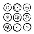 Circles Icons. Abstract Interior Poster to Print. Hand Drawn Dirty Grunge Style