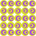 Circles are made in lilac and olive color on a white background. A simple geometric pattern.