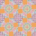 Circles and squares pattern orange pink violet purple blue Royalty Free Stock Photo