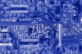 Circuit board c photograph of a blue Royalty Free Stock Photo