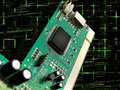 Circuit Board and Chip  with Programming Code Royalty Free Stock Photos