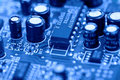 Circuit board computer toned in blue Stock Photography