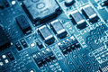 Circuit board. Electronic computer hardware technology. Information engineering component. macro photography