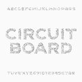 Circuit board font. Vector Alphabet. Digital hi-tech style letters and numbers. Royalty Free Stock Photo