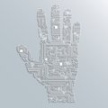 Circuit board hand electronic computer technology shape background or emblem isolated vector illustration Royalty Free Stock Image
