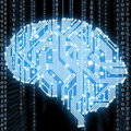 Circuit board in human brain form technological illustration abstract of Royalty Free Stock Photo