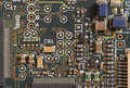 Circuit board with resistors and microprocessors Royalty Free Stock Photos