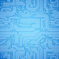 Circuit board seamless blue pattern computer bright vector illustration Royalty Free Stock Image