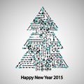 Circuit board, Tree for the new year Royalty Free Stock Photo
