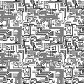 Circuit board vector computer seamless technological background electronic black and white pattern Stock Photography