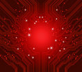 Circuit board vector red background Royalty Free Stock Photography