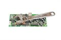 Circuit board and wrench Stock Photo