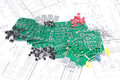 Circuit boards, components with schematics Stock Photography
