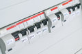 Circuit breakers, differential circuit breaker, protective cutout device. Royalty Free Stock Photo