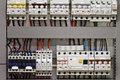 Circuit breakers and electrical wire control panel with static energy meters fuse Stock Photography