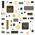 Circuit computer chips icons technology vector illustration set.