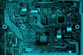 Circuit electronic board. Computer hardware part. Motherboard digital chip Royalty Free Stock Photo