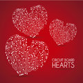 Circuit hearts over red background vector illustration Stock Photography
