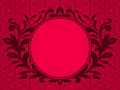 Circular antique frame on a red opaque background Stock Photo