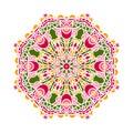 Circular background in shades of emerald. Flower circular background. Mandala.