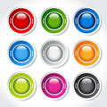 Circular blank glossy buttons illustration Stock Photo