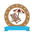 Circular border with chair and umbrella Royalty Free Stock Photo