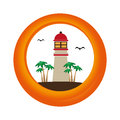 Circular border with colorful island with lighthouse