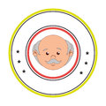 Circular border with front face elderly man