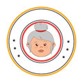 Circular border with front face elderly woman