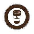 Circular border with glass disposable for hot drinks with lid
