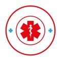 Circular border with health symbol cross