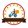 Circular border and label with baker pictogram in scooter