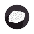 Circular border with silhouette view side brain in monochrome color