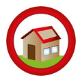 Circular button with house one floor inside and garden