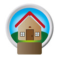Circular button with realistic house one floor inside and garden with plaque
