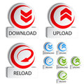 Circular buttons - download, reload, upload Stock Photography