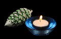Circular candle and christmas-tree decoration Royalty Free Stock Images