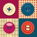 Circular clothing button icon set.