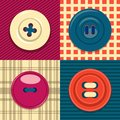 Circular clothing button icon set.