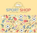 Circular concept of sports equipment background. life style tools with gym device, equipment and items. Training