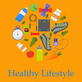Circular concept of sports, fitness, healthy lifestyle equipment