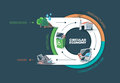 Circular economy vector illustration of showing product and material flow product life cycle natural resources are taken to Royalty Free Stock Image